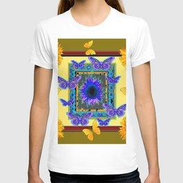 KHAKI PURPLE & YELLOW BUTTERFLIES SUNFLOWER T-shirt
