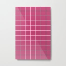 Pink-Purple and White Grid Pattern | Geometric Stripes Design Metal Print