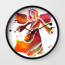 Colorful Angel Acrylic Abstract Painting by Saribelle Rodriguez Wall Clock