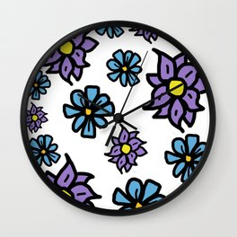 Lavenders and Blues - floral Wall Clock