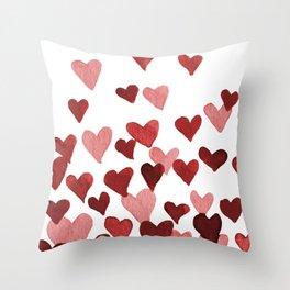Valentine's Day Watercolor Hearts - red Deko-Kissen