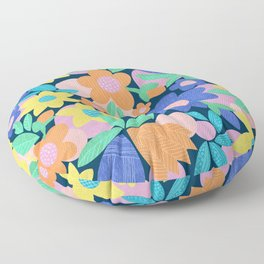 Spring Mod Flowers Pattern Floor Pillow