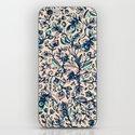Teal Garden Floral Doodle Pattern In Cream Amp Navy Blue