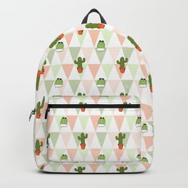 Trendy pastel coral green triangles cute cactus floral Backpack