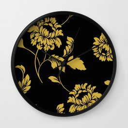 Victorian Floral (Black & Gold) Wall Clock