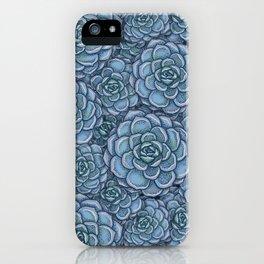 Blue Succulent Pattern iPhone Case