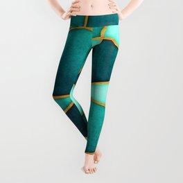 Aquamarine Watercolor Skewed Color Blocks Leggings