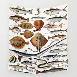 Adolphe Millot - Poissons B - French vintage nautical poster Wall Tapestry