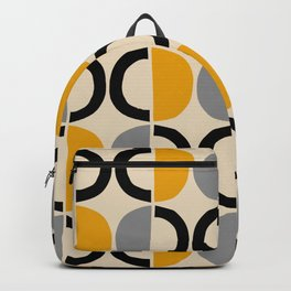Mid Century Modern Half Circle Pattern 547 Beige Black Gray and Yellow Backpack