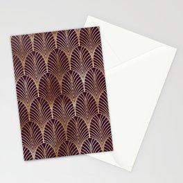 Geometric vintage metallic purple background Stationery Cards