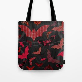 Bat Colony in Reds, Maroon, Scarlett, Orange & Burgundy on a Black Woodgrain Background Tote Bag
