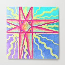 Summer Sun Abstract Digital Painting Metal Print