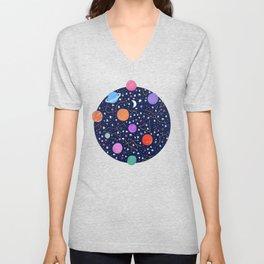 Astrology Zodiac Constellation in Midnight Blue Unisex V-Neck