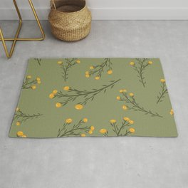 anne's lace_golden flowers on green Rug