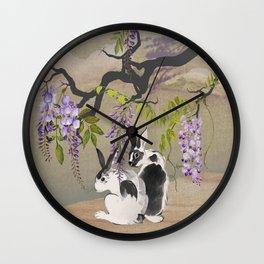 Two Rabbits Under Wisteria Tree Wall Clock
