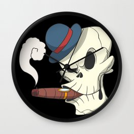 Skull skeleton cigar hat Wall Clock