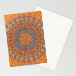 Bright Orange Blue Mandala Stationery Cards