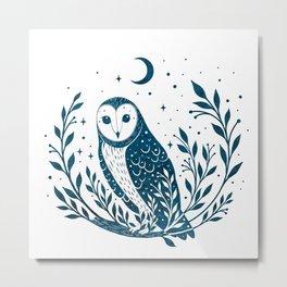 Owl Moon - Blue Metal Print