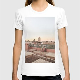 Pastel Sunset Colors Of Marrakech Photo | Coral Rooftop Design Art Print | Morocco Travel Photography T-shirt