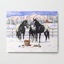 Black Appaloosa Horses In Winter Snow Metal Print