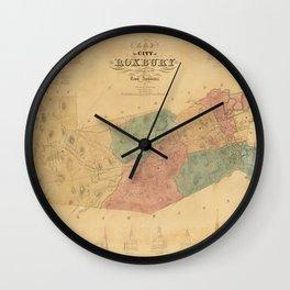 Vintage Map of Roxbury Massachusetts (1849) Wall Clock
