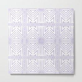 Nappy Faux Velvet Framed Wicker Repeat in Lilac Reversed Metal Print