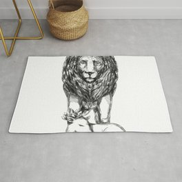 Lion Guarding Lamb Tattoo Rug