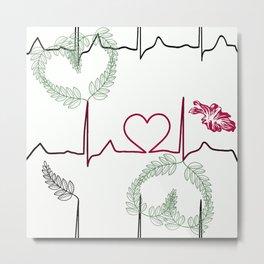 Cardiogram with heart. Metal Print