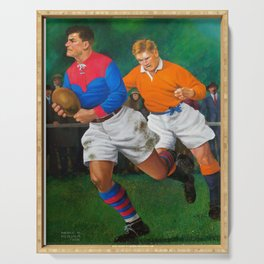1920's Rugby Oil by PPereyra Serving Tray