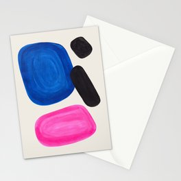Mid Century Modern Abstract Minimalist Fun Colorful Shapes Magenta Phthalo Blue Bubbles Pop Art Stationery Cards