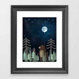 the moon balloon Framed Art Print