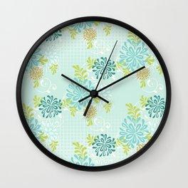 Bold Graphic Mod Mum Modern Chrysanthemum Floral Flower Aqua Blue Wall Clock