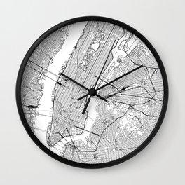 New York City White Map Wall Clock