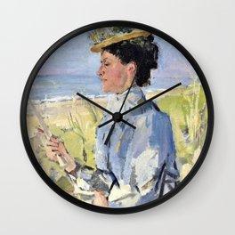 Isaac Lazarus Israels - At The Beach - Portrait Of Martha Salomon - Digital Remastered Edition Wall Clock