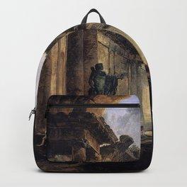 Hubert Robert - Imaginary View of the Grande Galerie in the Louvre in Ruins Backpack