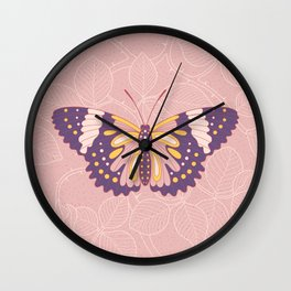 Butterfly in pink background from rose Wall Clock