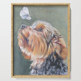 A realistic Yorkshire Terrier Portrait by L.A.Shepard fine art painting Serving Tray