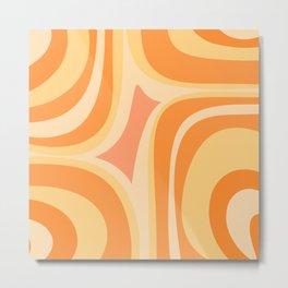 Orange Groove Retro Abstract Pattern Metal Print