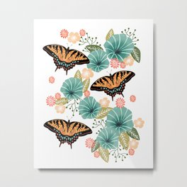 Swallowtail Butterflies - swallowtail butterfly art, floral art, butterfly print, insect, nature study Metal Print