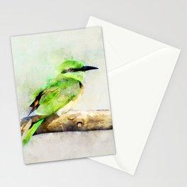 European Bee Eater Green Yellow Bird Wildlife Animal Watercolor Artsy Stationery Cards
