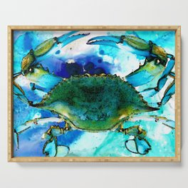 Blue Crab - Abstract Seafood Painting Serving Tray