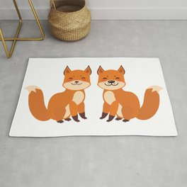 cute fox, boy and girl with funny face and fluffy tails on white background Rug