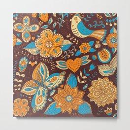 Floral Khokhloma pattern Metal Print