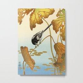 Bird sitting on a lotus plant - Vintage Japanese Woodblock Print Art Metal Print