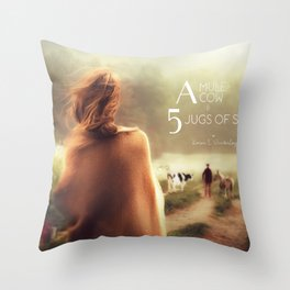 A Mule, A Cow & 5 Jugs of Shine Throw Pillow