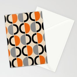Mid Century Modern Half Circle Pattern 548 Beige Black Gray and Orange Stationery Cards