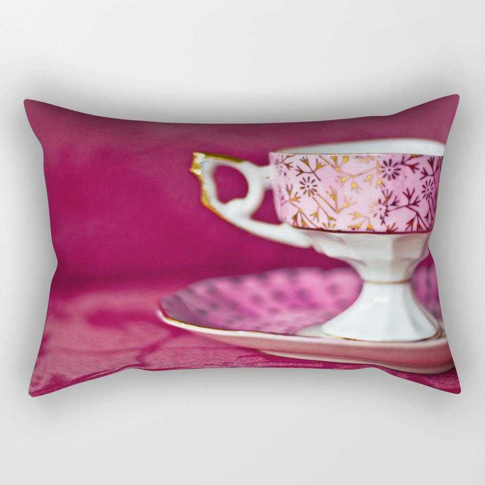 Antique Pink Cup And Saucer Rectangular Pillow RPW8048920