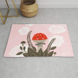 red mushroom with clouds illustration Rug