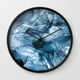 Churning Blue Ocean Waves Abstract Painting Wall Clock