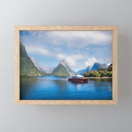 A Boat Cruise at Milford Sound, New Zealand Framed Mini Art Print